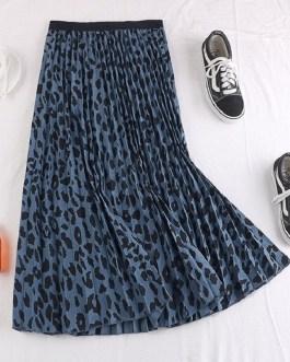 Leopard Pleated A Line Long Skirt