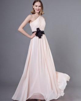 Long Chiffon One Shoulder Bows Floor Length Wedding Party Bridesmaid Dresses