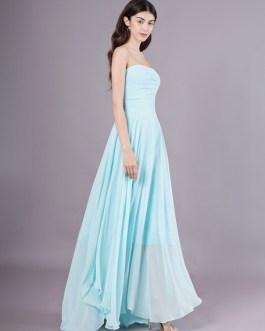 Long Chiffon Strapless Asymmetrical Prom Wedding Party Bridesmaid Dresses