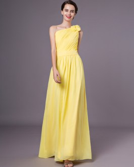 One Shoulder Chiffon Floor Length Wedding Party Bridesmaid Dresses