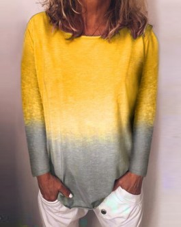 Rainbow Gradient Print Plus Size O-neck Long  Sleeve Blouse