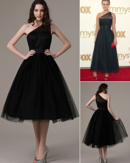 2020 Short Cocktail Dress Kaley Cuoco Emmys Polka Dot One Shoulder Ankle Length Tulle Party Dress