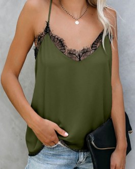 Cami Top Lace Jewel Neck Casual Tops