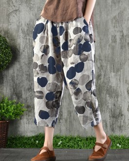 Casual Elastic Waist Wave Point Side Pockets Harlan Pants