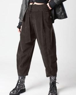 Elastic High Waist Harem Long Trousers Casual Loose Pants