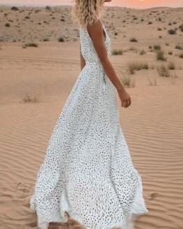Maxi Dresses Sleeveless Split Front Polka Dot V Neck Pleated Layered Polyester Floor Length Dress