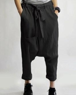 Pure Color Elastic Waist Loose Side Pockets Trousers Pants