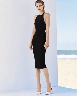 Sexy Stretchy Strap Elastic Knee Length Celebrity Party Dress