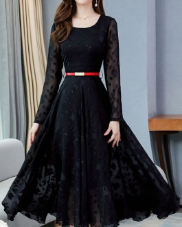 Skater Jewel Neck Long Sleeves Pleated Floral Print Layered Classic Flared Dresses
