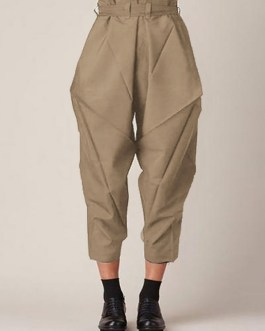 Solid Color Loose Causal Side Pocket Pants