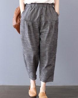 Stripe Elastic Waist Pockets Harem Pants