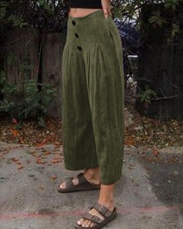 Wide Legged Casual Loose Pure Color Side Pockets Pants