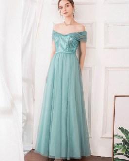 A Line Bateau Neck Chiffon Sleeveless Sequins Wedding Guest Prom Dresses