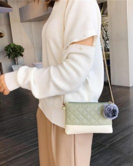Classic PU Leather Satchel Pompom Chain Shoulder Handbag