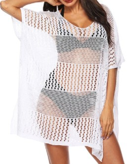 Cover Ups Crochet Jewel Neck Cut Out Short Sleeves Polyester Beach Swimming Suits