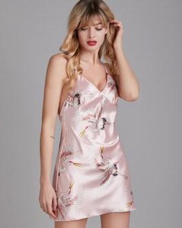 Criss Cross Print Backless Mini Nightgown