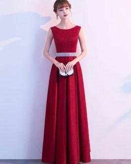 Evening A Line Jewel Neck Floor Length Sleeveless Zipper Sash Sequined Social Party Dresses