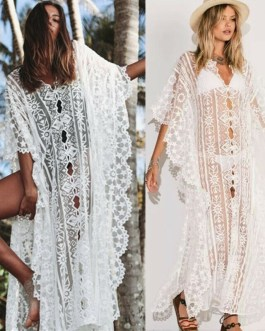 Fashion Floral Hollow Bikini Cover-Ups Dress