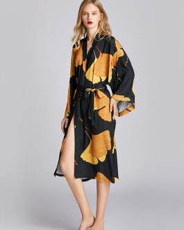 Floral Printed Long Sleeve Nightgown