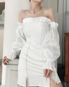 Long Sleeves Strapless Drawstring Sexy Bodycon Dress