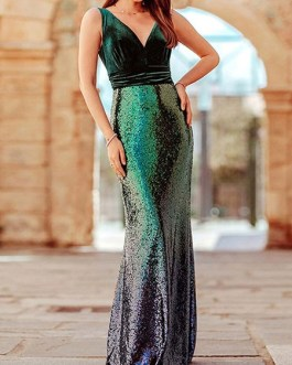 Maxi Dresses Sleeveless Ombre V Neck Sequins Maxi Polyester Floor Length Dress
