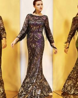 Mermaid Bateau Neck Floor-Length Zipper Fringe Sequined Social Party Dresses