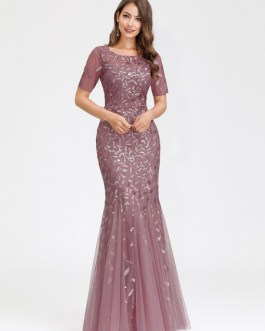 Organza Jewel Neck Mermaid Short Sleeves Embroidered Pageant Prom Dresses