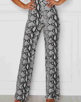 Straight Polyester Snake Print Trousers
