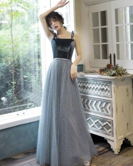 Prom A Line Square Neck Sleeveless Straps Floor Length Sash Wedding Guest Dresses