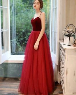 Prom V Neck A Line Sleeveless Straps Beaded Floor Length Wedding Guest Dresses