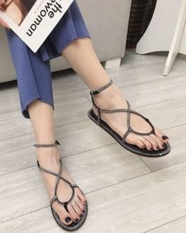 Rhinestones Chic Open Toe Flat Sandals