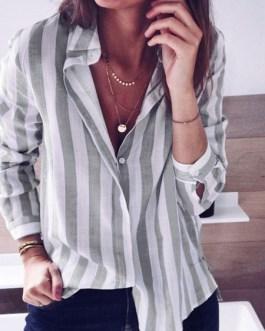 Blouse Stripes Turndown Collar Casual Tops