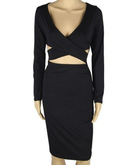 Bodycon Long Sleeves Sexy V Neck Cut Out Sheath Dress