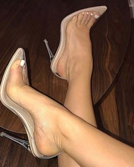 Clear Stilettos – Pointed Toes Cushioned Footbeds