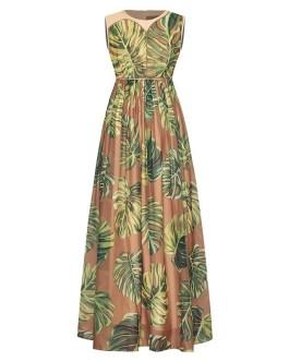 Elegant High Waist Banana Leaf Print Tank Maxi Dress