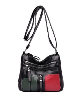 Fashion Hit Color Casual Soft Leather Simple Zipper Large Capacity Shoulder Bags