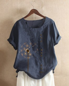 Flower Printed Short Sleeve O-Neck Button Casual Overhead T-shirt