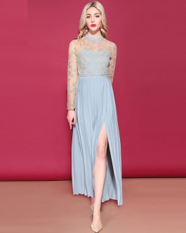 Long Sleeve Gorgeous Gold thread Embroidery Side Split Elegant Maxi Dress