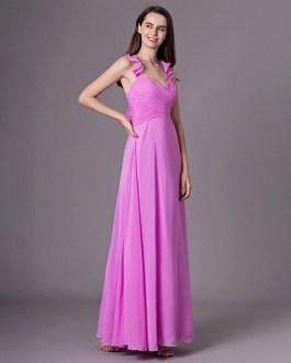 Ruffles A Line Floor Length Halter Bridesmaid Dress