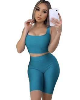 Sexy Crop Tops And Biker Shorts Sets Bodycon Sportswear
