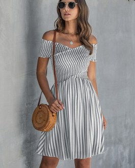 Stripe Sexy Off Shoulder Streetwear Elegant Crossed Short Sleeve Short Dress