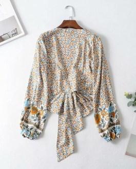Floral Print Long Sleeve Crop Top Blouses