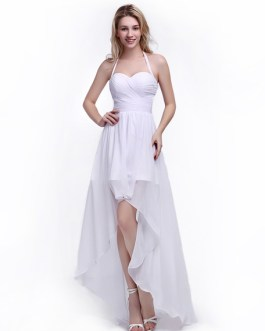 A-line Bridesmaid Dress with Halter Neck and Ruffles Chiffon Skirt
