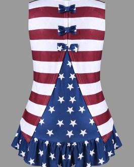 American Flag Tank Bowknot Stripe Top