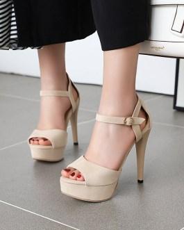 Buckle Strips Peep Toe High Heels Shoes