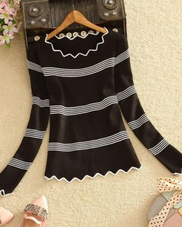 Casual Long Sleeve Striped Pattern Top