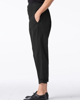 Casual Pure Color Side Pockets Elastic Waist Pants