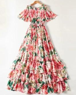 Designer Flower Print Elastic Waist Party Maxi Dress