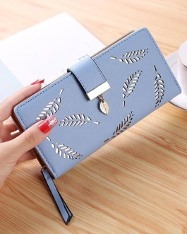 Designer Leaves Hollow Out Soft PU Leather Clutch Wallet