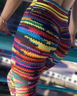 Euro Style Multicolored Knit Yoga Leggings